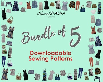 Bundle of 5 PDF Sewing Patterns - Emailed to you!