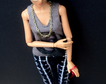 Cropped Trousers in Windowpane Print for 11.5-inch Tall Fashion Dolls