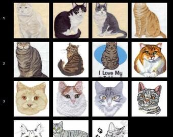 Custom Embroidered Tabby Cat Tshirt  S-4XL