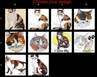 Custom Embroidered Calico Cat Tshirt  S-4XL