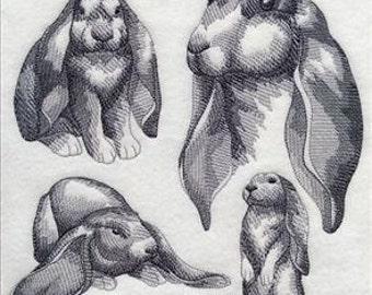 Custom Embroidered English Lop Rabbit Sweatshirt S-3XL