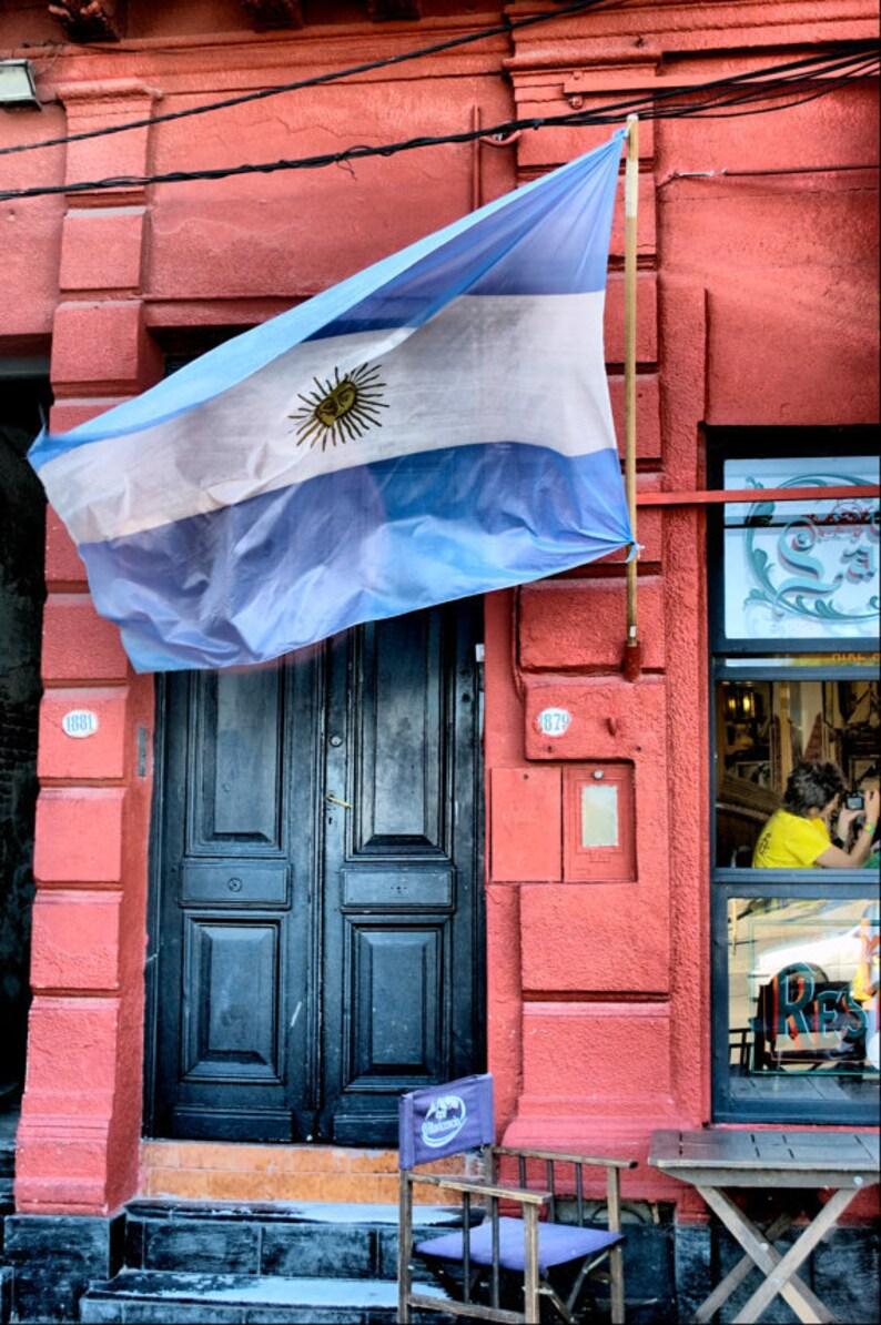 Argentina Flag And Door Buenos Aires La Boca District Fine Art Travel Photography Print 8x12