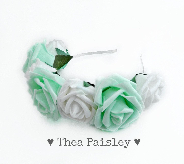 Lana del rey flower crown mint white rose pastel goth etsy 50 izmirmasajfo