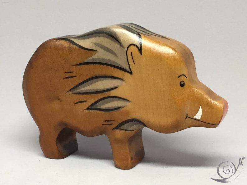 Toy wild boar wooden brown Size: 11,0 x 7 x 2,6 cm (bxhxs) approx  65,0 gr