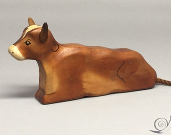 Toy Cow wood brown colourful lying Size: 15,5 x 7,5  x 2,7 cm (bxhxs)  approx. 113,0 gr.