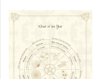 Wheel of the Year Pagan / Wiccan Sabbat Calendar 2019   Etsy