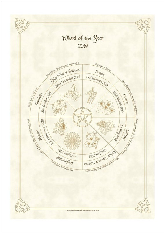 Wheel of the Year Pagan / Wiccan Sabbat Calendar 2019 | Etsy