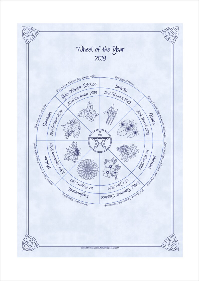 Wheel of the Year Pagan / Wiccan Sabbat Calendar 2019