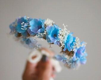 NEWBORN FLOWER CROWN {Cora} Newborn Photo Prop, Floral Crown, Newborn Headband, Newborn Tieback, Newborn Halo, Newborn Photography Props
