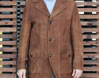 4b7e36680370 Vintage Leather Coat for Men | 60s/70s The Leather Shop Sears, 40, brown  suede, vintage suede coat, leather coat for men, mens suede coat