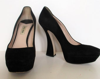 5669b955c994 Vintage 90s Miu Miu Prada Platform Pumps Shoes 37.5 Black Fashionista