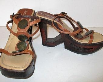 a7e0027be1696 Wood Heel Sandals Women