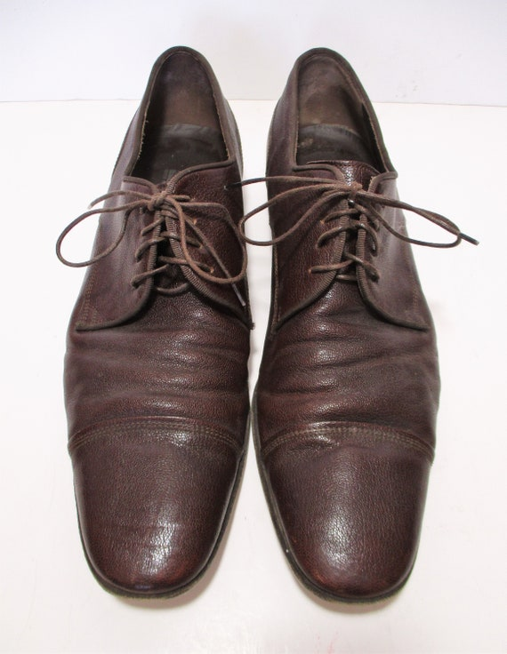 Sz 7 Brown Leather Lace Up Shoes from NaturalizerVintage 1980/'s Oxfords withTie Up lacesBlock Heel