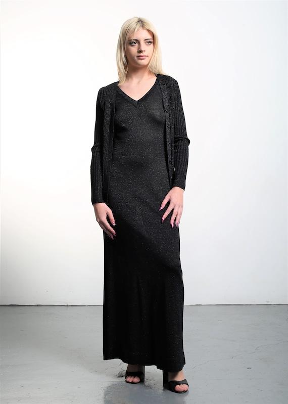 Vintage 1970s Roncelli Knit Maxi Dress & Cardigan… - image 4