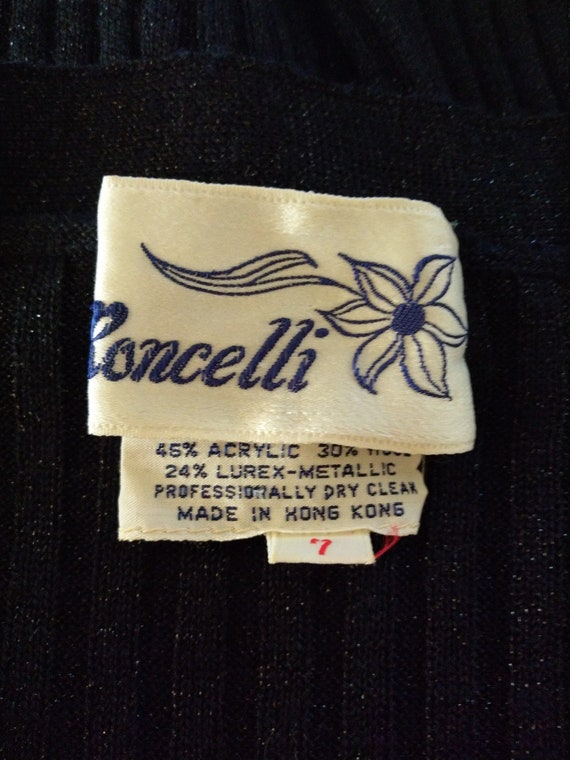 Vintage 1970s Roncelli Black Knit Maxi Dress & Ca… - image 10