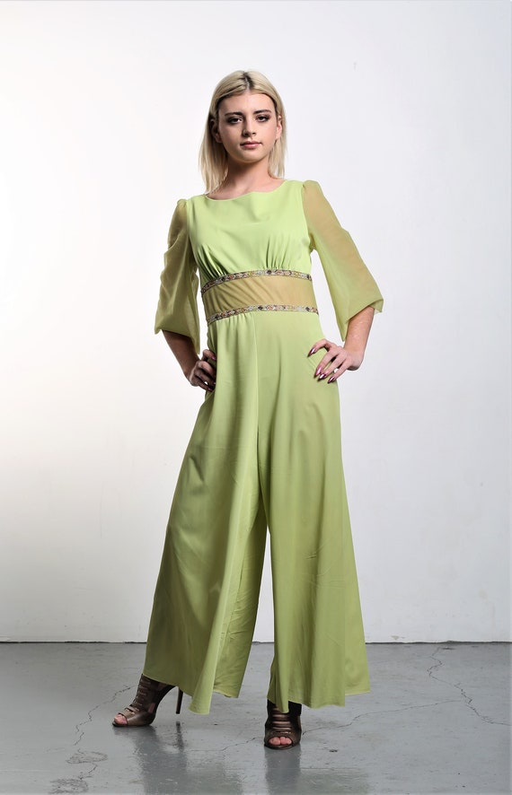 Vintage 1960s Movie Star Palazzo Jumpsuit Small Wo