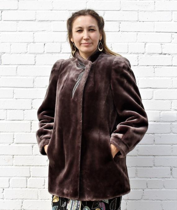 Vintage 1970s Sasson Faux Fur Coat Small Women Jac