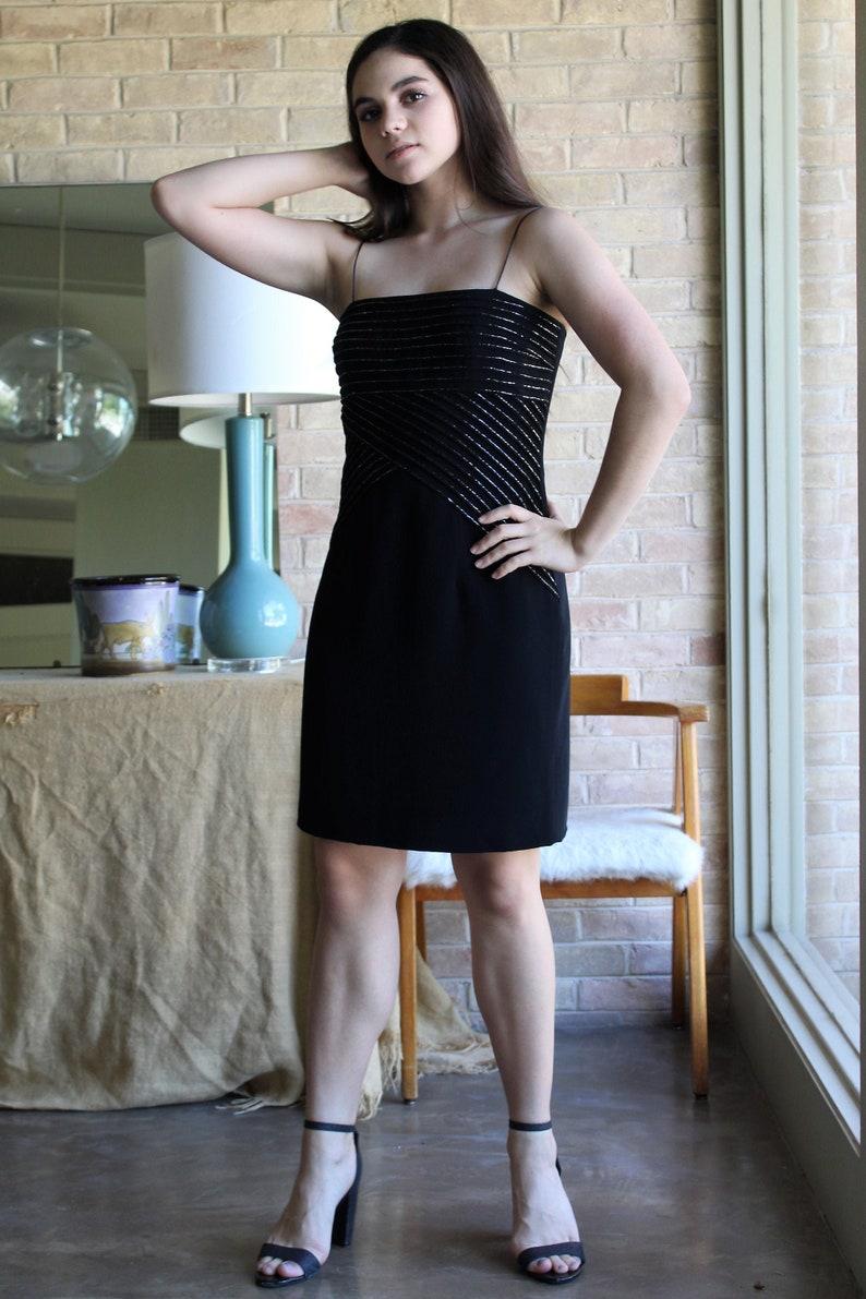 Little Black Dress Vintage Bob Mackie Boutique Small Women LBD beaded