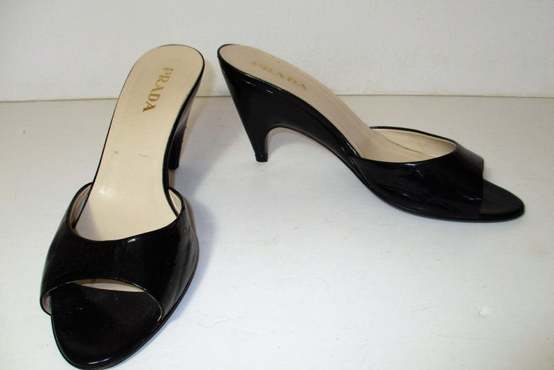 db8f85fe0aa2 Prada Vintage 90s Black Patent Leather Mules Shoes Size 37 | Etsy