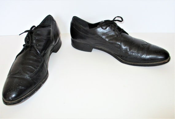 Vintage 1980s Stacy Adams Oxfords Brogues Black La