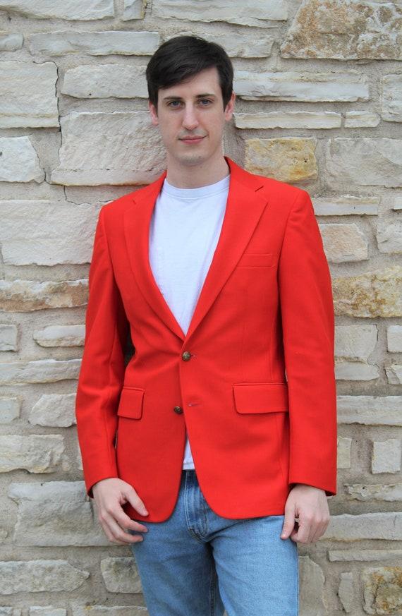 Vintage 80s d'Armigene Blazer 38R Men, Red Mens Bl