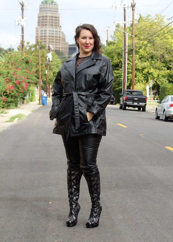 Vintage 1990s Wilsons Leather Short Trench Coat Ja