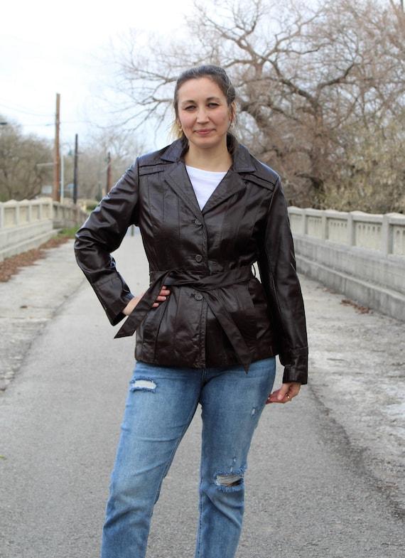 Vintage 1970s Dark Brown Leather Trench Coat Jacke