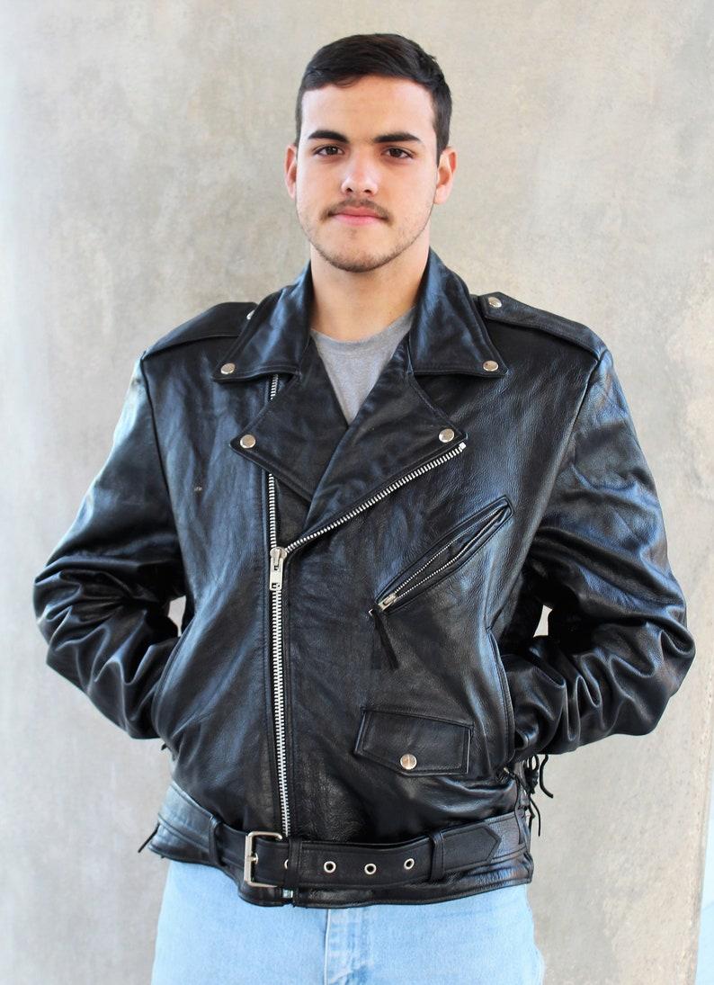 Vintage Leather Jacket >> Vintage Wilsons Leather Biker Jacket Men Open Road Large Etsy