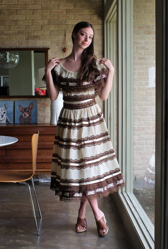 Vintage 50s/60s Mexican Dress, Small Women, Midi L