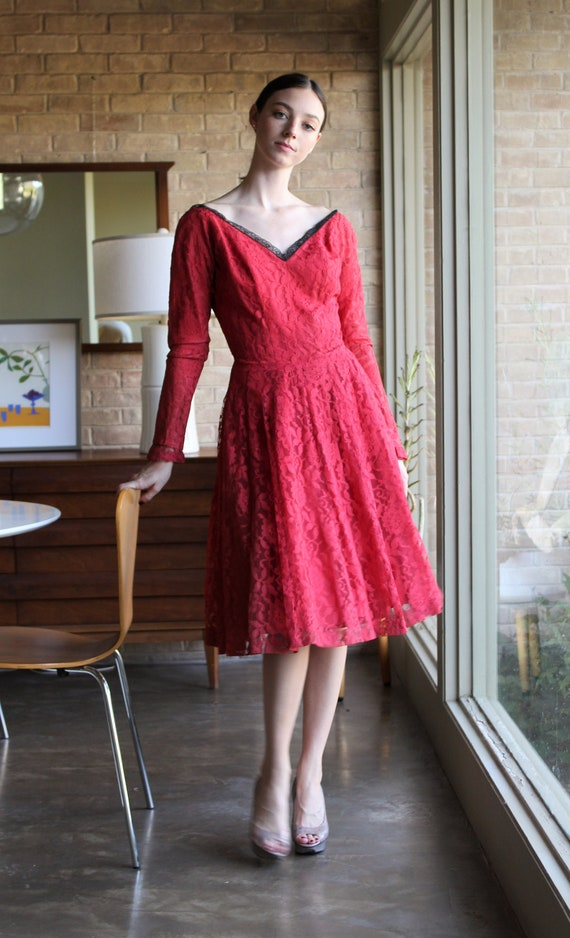 Vintage 1950s Gigi Young Red Lace Dress, Small Wom