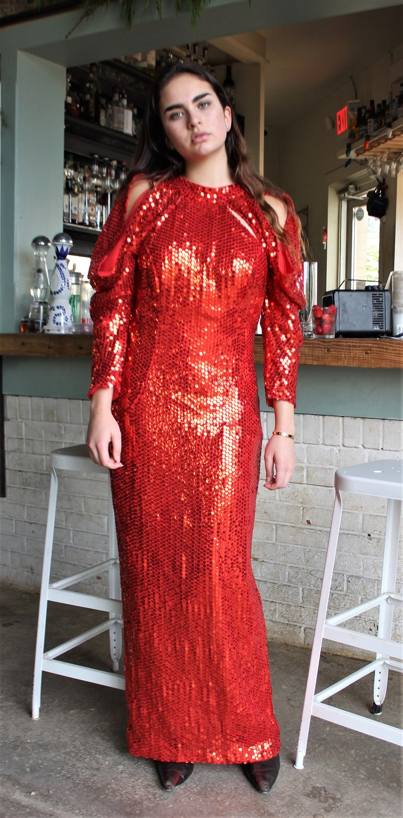 b4b093656e0 Sequin Dress Sequin Gown Red Sequin Dress Red Sequin Gown