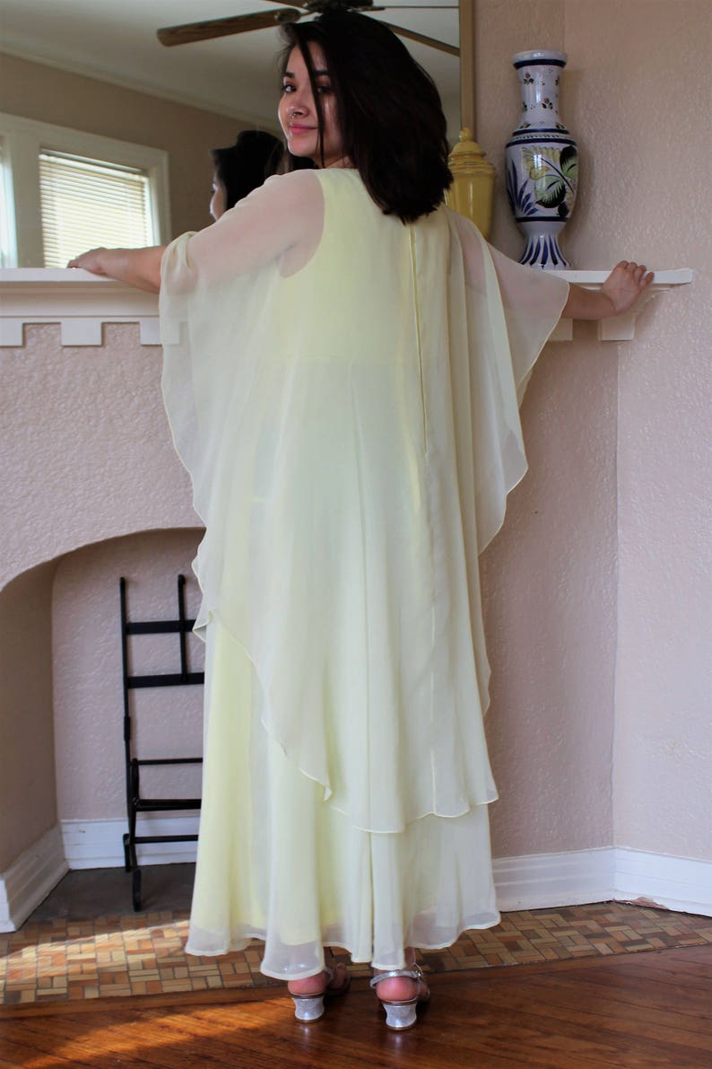 103406b5dee Chiffon Maxi Dress Women Vintage 60s Jack Bryan Medium Large