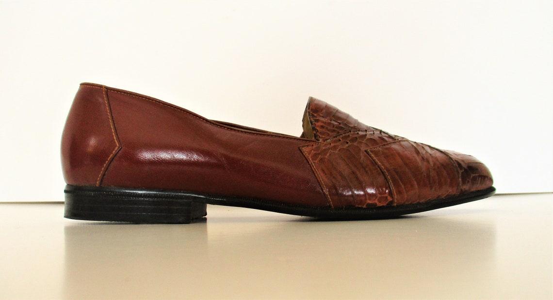 Slip On Shoes ( Slip On Shoes) Stacy Adams, 9 M, Mocasines Hombres, Slip Ons, Cuero Marrón, Piel de Serpiente