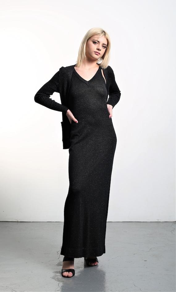 Vintage 1970s Roncelli Black Knit Maxi Dress & Ca… - image 8