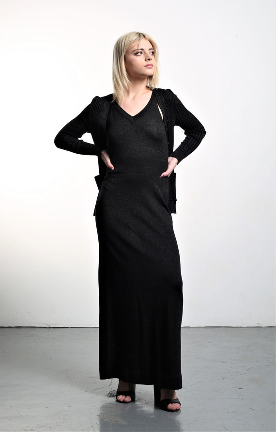 Vintage 1970s Roncelli Knit Maxi Dress & Cardigan… - image 1
