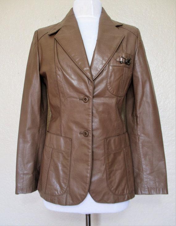 Vintage 1970s Etienne Aigner Leather Jacket Blazer