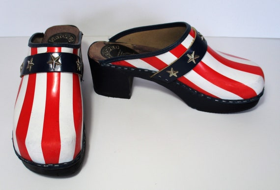 Vintage 1970s Swedish Clogs Shoes Red White Blue B