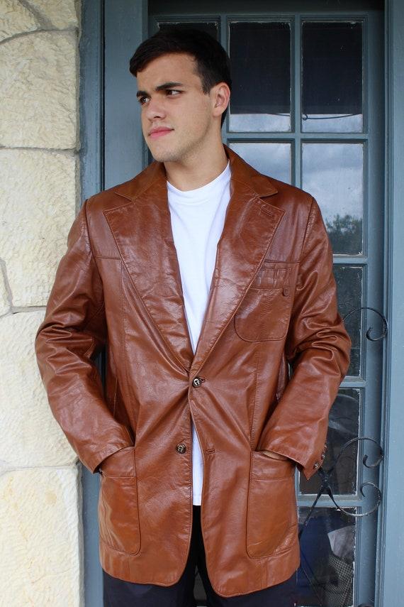 Vintage Leder Blazer Manner Vintage 70er Jahre Etienne Etsy