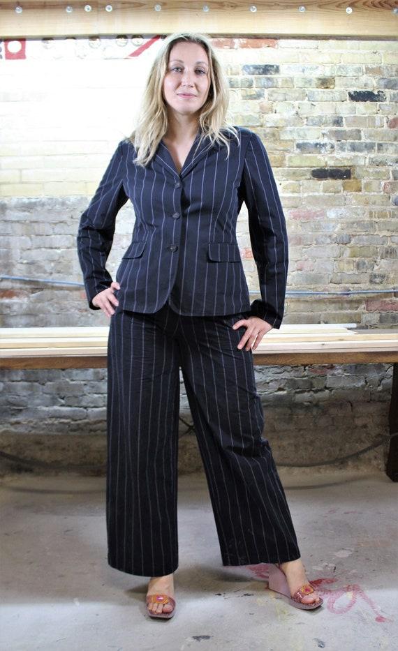 Vintage 1990s Joop Pant Suit Wide Leg Cropped Size