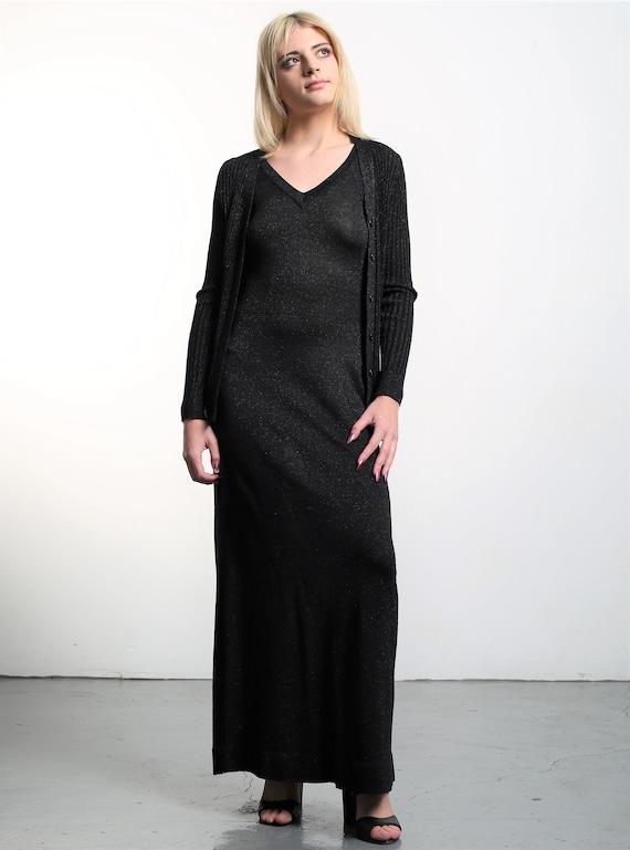 Vintage 1970s Roncelli Black Knit Maxi Dress & Ca… - image 7