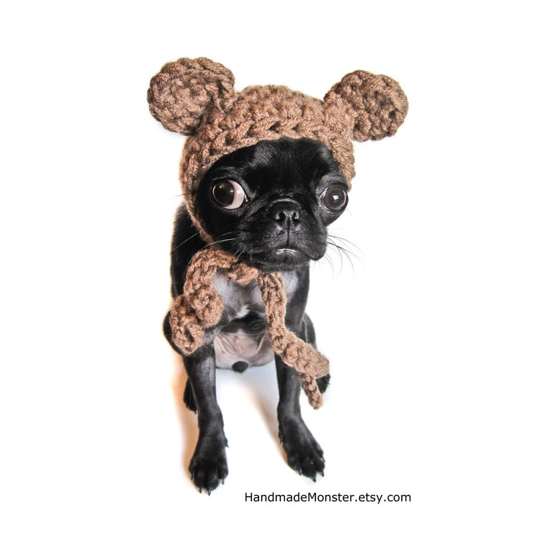 Crochet Bear Hat Halloween Ewok Dog Costume Pet Outfit Puppy Etsy