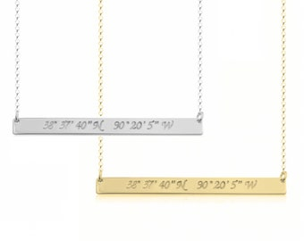 Coordinates Bar Necklace, Longitude and Latitude Necklace, Horizontal Bar Necklace, Sterling Silver, Gold or Rose Gold Plated, Bar Necklace