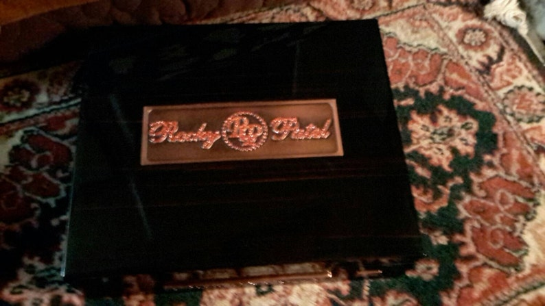 Humidor Chest Vintage Cigar Box Rocky Patel Fifty Numbered Spelled In Ruby Colored Stones Special Edition Rare Find by IndustrialPlanet