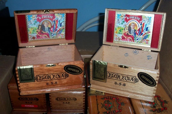 Cigar Box Wooden Chest Fuente Flor Fina 8-5-8 Brass Closure Group Gift Box Three In Stock by IndustrialPlanet NEW Free Shipping