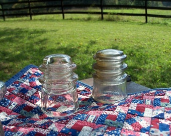 Pair Whitall Electrical Insulators Early Century Find
