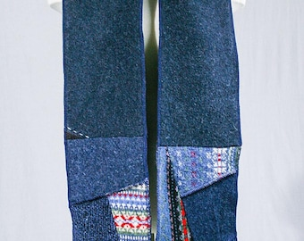 Wool scarf - Patchwork Scarf - Blue scarf - Recycled wool fabrics - Winter scarf  - Made in Quebec - One of a kind - Christmas Gift