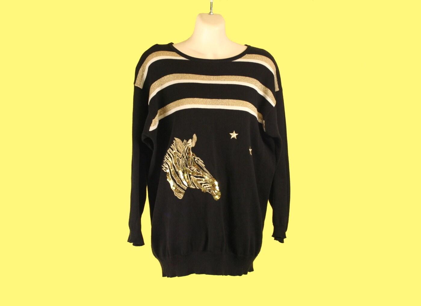 abbfd03cf0e Vintage 80 s Sequin Zebra Light Sweater Metallic Gold