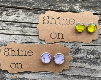 Baseball studs, softball studs, baseball earrings, softball earrings, earrings, studs