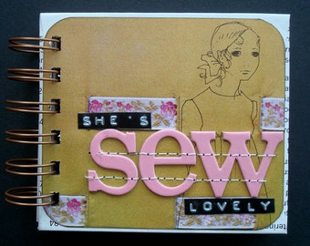 """small handmade spiral bound sewing project journal """"she's SEW lovely"""""""