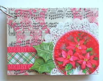 "handmade 5X7"" ring-bound december journal with holiday ephemera kit ""PRETTY POINSETTIAS"""